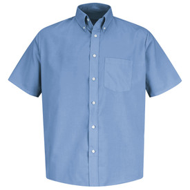Red Kap Men's Short Sleeve 1 Pocket Easycare Dress Shirt - Red Kap light blue short sleeve work shirt with button down collar, 1 front chest pocket and 7 button front closure. front view.