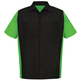 Red Kap RipStop Crew Shirt - Red Kap black short sleeve work shirt with bright green material on the sides and each sleeve.  The shirt has a collar, pocket on left chest, button pocket on right chest, pocket on left sleeve and concealed front button closure. front view.