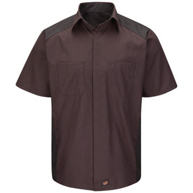 Red Kap Striped Short Sleeve Auto Shirt - Red Kap red short sleeve shirt with thin charcoal  stripes, collar, 2 front chest pockets and concealed front closure. front view.