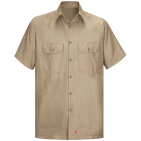 Red Kap Men's RipStop Straight Hem Shirt -Red Kap khaki short sleeve work shirt with collar, 2 front button covered chest pockets and 7 button front closure. front view.