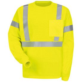 Red Kap Men's Hi-Viz Class 2 ANSI Long Sleeve T-Shirt - Red Kap yellow long sleeve work shirt with silver reflective tape around the waist, both arms above the elbow and up the front and over both shoulders. 1 pocket on left chest.  front view.