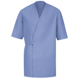 Red Kap Unisex Pocketless Food Processing Wrap - Red Kap light blue 3/4 sleeve Butcher Wrap. Left side wraps over right side with an attached belt that wraps around wrap and ties at the back. front view.