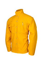 True North Dragon Slayer DWYST 5.8 oz Tecasafe Plus Wildland Shirt  - Orange buttoned jacket with right chest pocket with flap cover, left chest pocket without flap cover for pens and protective neck flap.