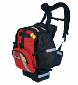 True North FRF8210 Firefly Gear Pack - Durable red and black pack for gear with reflective strips on front and sides, front and side pockets, multiple buckles, and backpack suspension system.