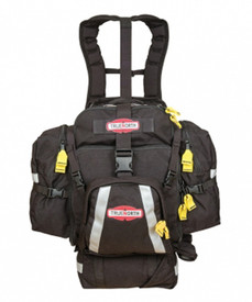 True North Firefly FireFlyFF5 Medic Gear Pack - Durable black gear pack with reflective strips on back, sides, and bottom, with yellow zipper pulls for side and front zippered pockets. With lots of buckles and backpack suspension system.