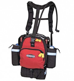 True North Fireball FBL4210 Gear Pack - Durable black and red gear pack with reflective strips, and yellow zipper pulls for side and front zippered pockets and water tube.