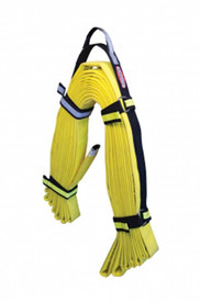 True North HS100 100 Ft High-Rise Fire Hose Strap - Black fire hose storage strap for containing large hoses, shown holding a folded yellow fire hose.