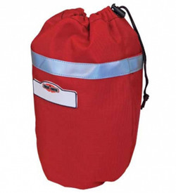 True North MB100R Fleece Lined Oval Mask Bag - Red reflective lined scuba mask bag with drawstring top closure.