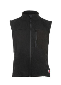 True North DF2 Dragonwear Nomex FR Alpha Vest - Black zippered sleeveless vest with front zippered pocket and stand up neck.