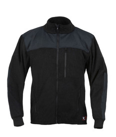 True North DF5 Dragonwear Nomex® Fleece FR Men's Jacket - Front View of Black long sleeved Men's zippered jacket with stand up neck.