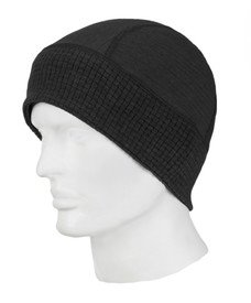 True North DFB900DH Dual Hazard FR Beanie - Black fabric beanie hat with full coverage around ears and face.