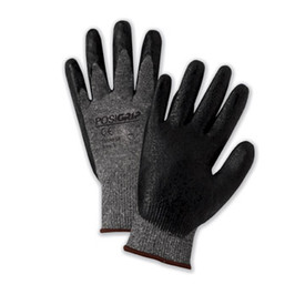 West Chester Nitrile Foam Dipped Oil Grip Glove - Pair of two gray and black coated safety work gloves with elastic fit wrists.