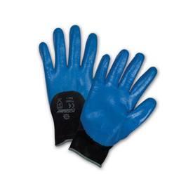 West Chester 3/4 Dip Blue Nitrile Abrasion Resistant Glove - Pair of two blue coated safety work gloves with black elastic fit wrists.