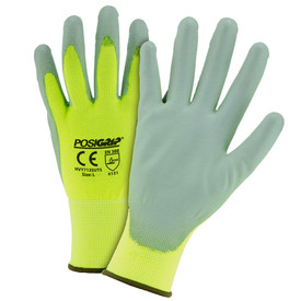 West Chester Hi-Viz Yellow PU Palm Coated Touch Screen Glove - Pair of two yellow and gray coated high visibility safety work gloves with elastic fit wrists.