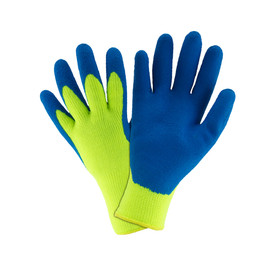 West Chester Blue Latex Palm Coated on Hi-Viz Yellow Thermal Knit Glove - Pair of two bright yellow and blue high visibility work gloves with fabric elastic fit wrist.