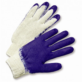 West Chester Blue Latex Palm Coated Poly/Cotton Knit Glove - White fabric glove with blue textured coating on fingers and palm.
