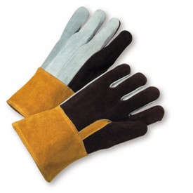 West Chester Heavy Foundry Self Hem Welder Gloves - Gray and black leather gloves with natural leather cuff.