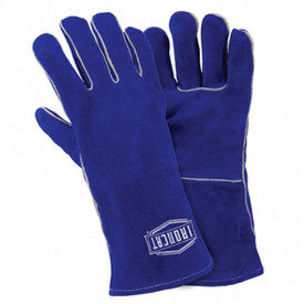 West Chester IronCat Women's Insulated Cowhide Welding Gloves - Blue leather gloves with grey accent striping on the seams, with IronCat logo stamped on back in white.