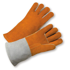 West Chester Reinforced Thumb Strap Welder Gloves - Pair of two light orange welding gloves with reinforced thumb and gray wrist cuff.