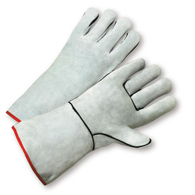 West Chester Cowhide One Piece Palm Welder Gloves - Two white gloves with black and red hem and gray wrist cuff cover flap.