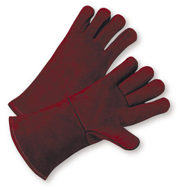 West Chester Cowhide Cotton Lined Welder Gloves - Two dark red gloves with red hem and dark red wrist cuff cover flap.