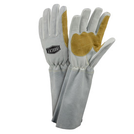 West Chester IronCat 8 Inch Cuff Pre-Curved Fingers MIG Welding Gloves - Two thin insulated gray and tan welding work gloves with long gray forearm.
