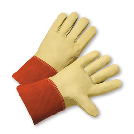West Chester Cowhide Gauntlet Cuff TIG Welder Gloves - Two tan leather palm work welding gloves with orange wrist cuff cover flap.
