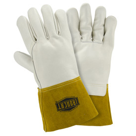 West Chester IronCat Heavyweight Cowhide Unlined MIG Welding Gloves - White leather gloves with brown leather cuffs and IronCat logo stamped in black.
