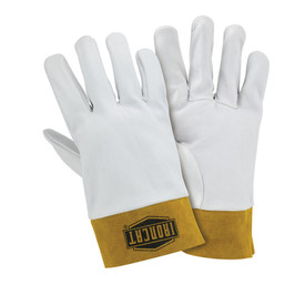 West Chester IronCat Premium Kidskin Kevlar Sewn Welding TIG Gloves - Two white heavy insulated sewn welding work gloves with small yellow wrist cover flaps.