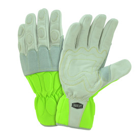 West Chester IronCat Hi-Viz Utility Kevlar Sewn Buffalo Gloves - Two high visibility yellow and gray work gloves with padded fingers and palm.
