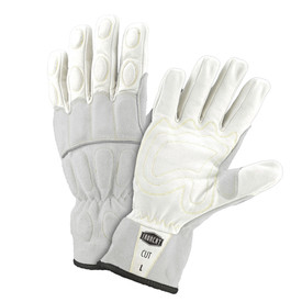 West Chester IronCat Kevlar Lined Buffalo Utility Gloves - Two white and gray work gloves with dark gray lining and padded fingers and palm.
