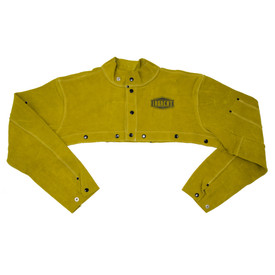 West Chester IronCat Heavy Welding Brown Leather Cape Sleeve - Dark yellow buttoned welding sleeve cape with size adjustable wrists.