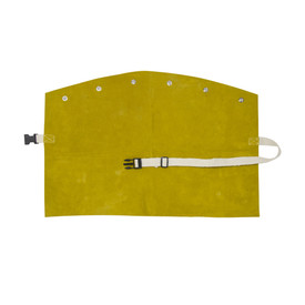 West Chester IronCat Heat Resistant Leather Brown Welding Bib - Adjustable size clip dark yellow welding bib with button holes.