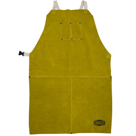 West Chester IronCat Heat Resistant Leather Brown Welding Apron - Dark yellow buttoned leather welding apron with size adjustable clip.