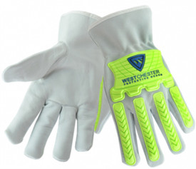 West Chester Cowhide Hi-Viz TPR And Cotton Lining Driver Work Glove - Grey gloves with bright green plastic finger and knuckle guards. .