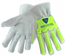 West Chester Cowhide Hi-Viz TPR Driver Work Glove - Grey gloves with bright green plastic finger and knuckle guards. .