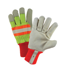 West Chester Leather Palm Hi-Viz 3/4 Tape Orange Work Glove - Red, yellow, orange, black, and gray high visibility safety work gloves with reflective strips and elastic fabric wrist.