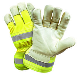 West Chester Leather Palm Hi-Viz ANSI Level 2 Work Glove - Pair of two yellow high visibility leather safety work gloves with reflective strips on back of hand and wrist guard.