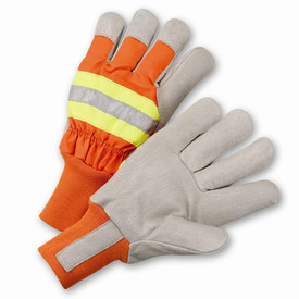 West Chester Leather Palm Lined Hi-Viz ANSI 2 Work Glove - Pair of two orange and yellow high visibility safety work gloves with reflective strips and elastic fabric wrist.