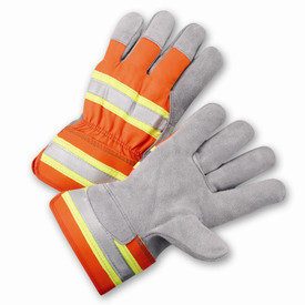 West Chester Hi-Viz 3M Reflective Leather Palm Work Glove - Pair of two yellow and orange high visibility safety work gloves with knuckle strip and wrist guard.