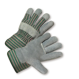 West Chester Leather Fingertips Leather Palm Work Glove - Pair of two gray and green styled safety work gloves with green and red styled wrist guard.