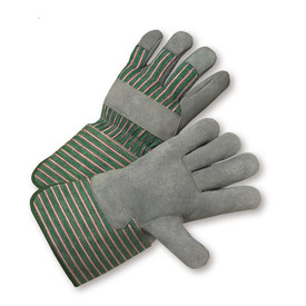West Chester Green/Pink Canvas Back Leather Palm Glove - Pair of two green and red safety gloves with gray palms and wrist guards.