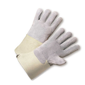 West Chester Full Back ANSI 2 Leather Palm Glove - Pair of two gray safety work gloves with tan wrist guards.