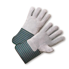 West Chester Heavy Full Leather Back & Palm Glove - Pair of two gray safety gloves with gray palms and green and red styled wrist guards.