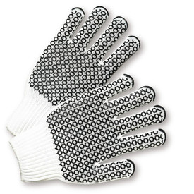 West Chester Reversible Poly/Cotton Black PVC Dotted 2 Sided Knit Gloves - Pair of two white knit work gloves with two sided black hexagon coating design.
