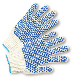 West Chester Mid-Weight Reversible Blue PVC Block Dots Poly/Cotton Knit Glove - Pair of two white knit safety gloves with blue rectangle pattern palm coating.