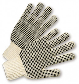 Mid-Weight 2 Sided PVC Dots Poly/Cotton Knit Work Glove - Two natural white cloth gloves with elastic cuffs and evenly spaced dots on both sides.