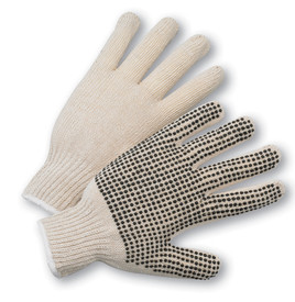 West Chester Natural String Knit PVC Dotted Glove - Pair of two tan knit safety gloves with dotted rubber coating for high grip.