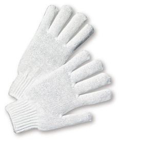 West Chester Mid-Weight 7 Cut White String Knit Glove - Pair of two white knit safety work gloves with fabric elastic fit wrists.