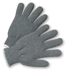 West Chester Gray Poly/Cotton Extra Heavy Weight String Knit Work Glove - Pair of two dark gray knit safety work gloves with fabric elastic fit wrists and gray hem.